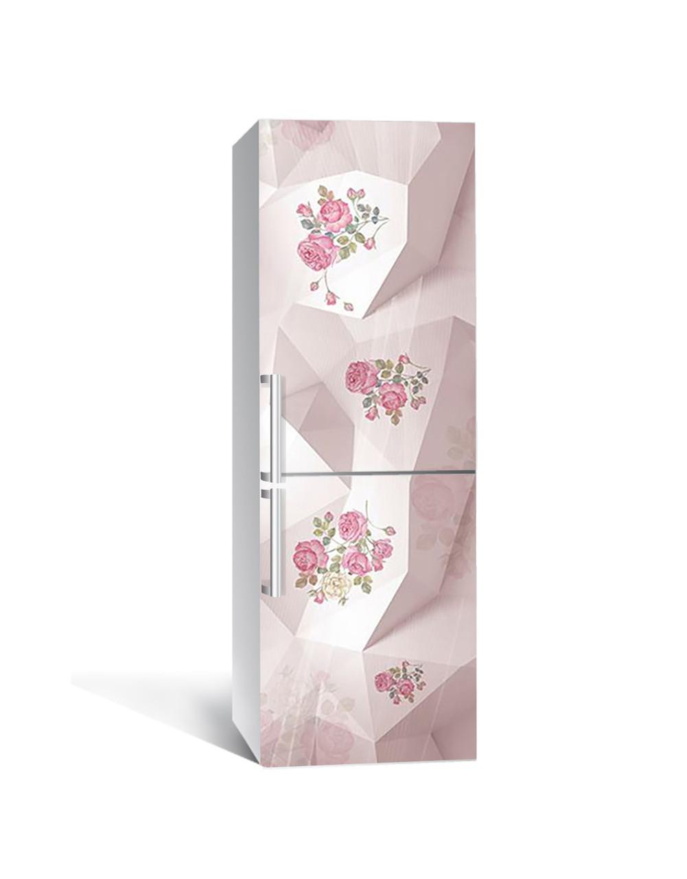 Вінілова наклейка на холодильник 3Д Троянди Заломлення (плівка ПВХ фотодрук) 65*200см Абстракція Рожевий
