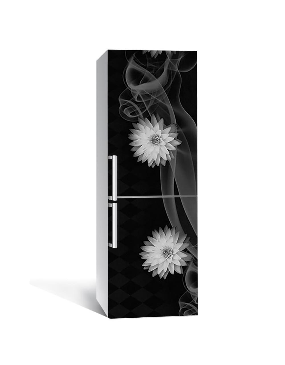 Декор 3Д наклейка на холодильник Жоржини в диму (плівка ПВХ з ламінуванням) 65*200см абстракція Чорний