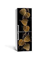 Вінілова наклейка на холодильник 3Д Листя берези Дощ (плівка ПВХ фотодрук) 65*200см рослини Чорний