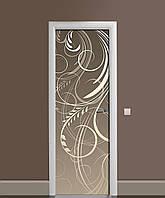 Декоративная наклейка на двери Классический вензель ПВХ пленка с ламинацией 65*200см Абстракция Серый