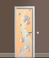 Декор двері Наклейка вінілова Перламутрові Сфери кулі ПВХ плівка з ламінуванням 65*200см Абстракція Рожевий