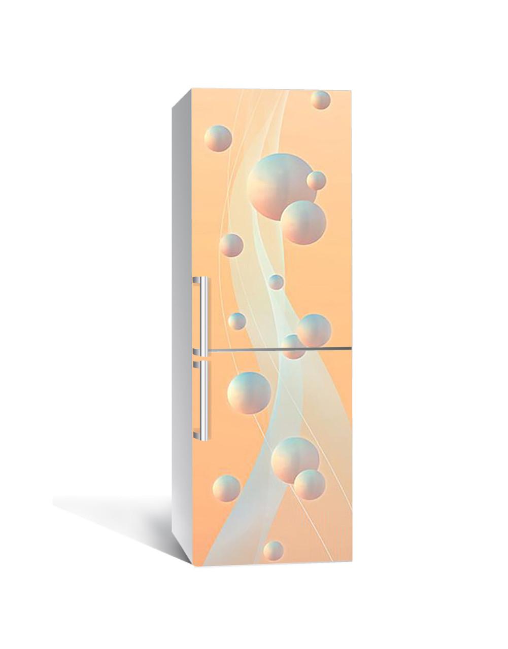 Наклейка на холодильник Перламутровые Сферы шары (пленка ПВХ фотопечать) 65*200см Абстракция Розовый