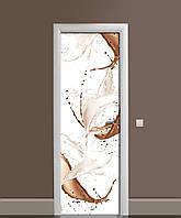 Вінілові наклейки на двері Молоко і какао Бризки ПВХ плівка з ламінуванням 65*200см Абстракція Бежевий