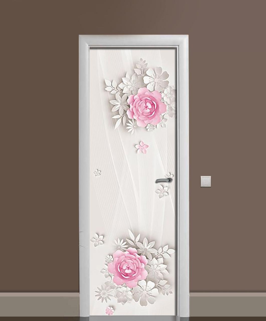 Виниловая наклейка на дверь Бумажные цветы ПВХ пленка с ламинацией 65*200см Абстракция Бежевый