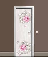 Вінілова наклейка на двері Паперові квіти ПВХ плівка з ламінуванням 65*200см Абстракція Бежевий
