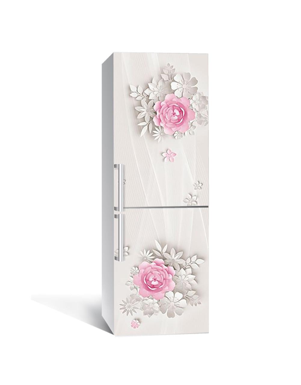 Вінілова наклейка на холодильник 3Д Паперові квіти (плівка ПВХ фотодрук) 65*200см Абстракція Бежевий