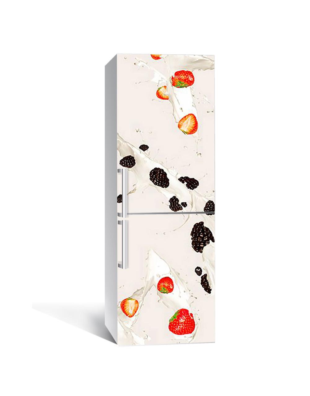 Декор 3Д наклейка на холодильник Ягідний шейк полуниця (плівка ПВХ фотодрук) 65*200см Ягоди Бежевий