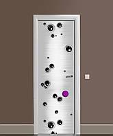 Виниловая наклейка на дверь Чёрные пузыри Шары ПВХ пленка с ламинацией 65*200см Абстракция Серый