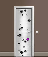 Вінілова наклейка на двері Чорні бульбашки Кулі ПВХ плівка з ламінуванням 65*200см Абстракція Сірий