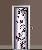 Декоративна наклейка на двері Пурпурові намистини кулі ПВХ плівка з ламінуванням 65*200см Абстракція