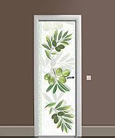 Вінілові наклейки на двері Гілки Оливи маслина ПВХ плівка з ламінуванням 65*200см Ягоди Зелений