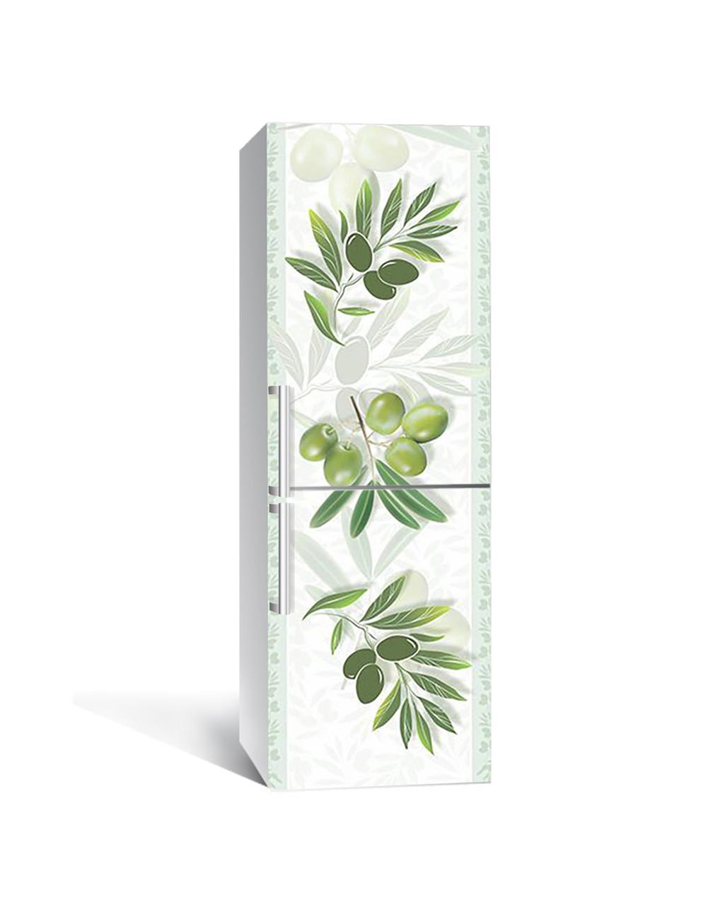 Виниловая 3Д наклейка на холодильник Ветви Оливы маслина (пленка ПВХ фотопечать) 65*200см Ягоды Зелёный