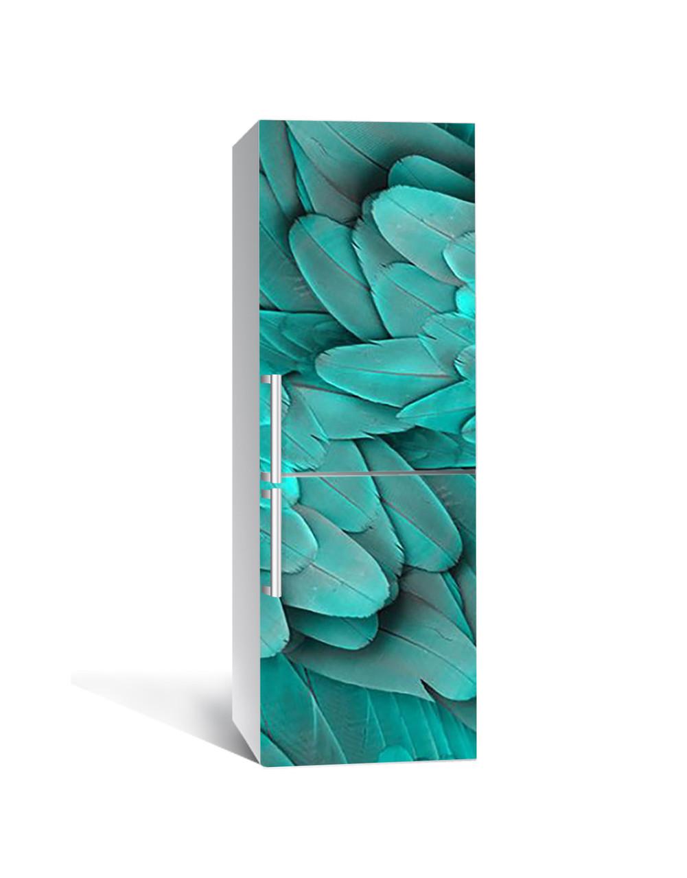 Наклейка на холодильник Бирюзовые Перья птицы (пленка ПВХ с ламинацией) 65*200см Текстуры Зелёный