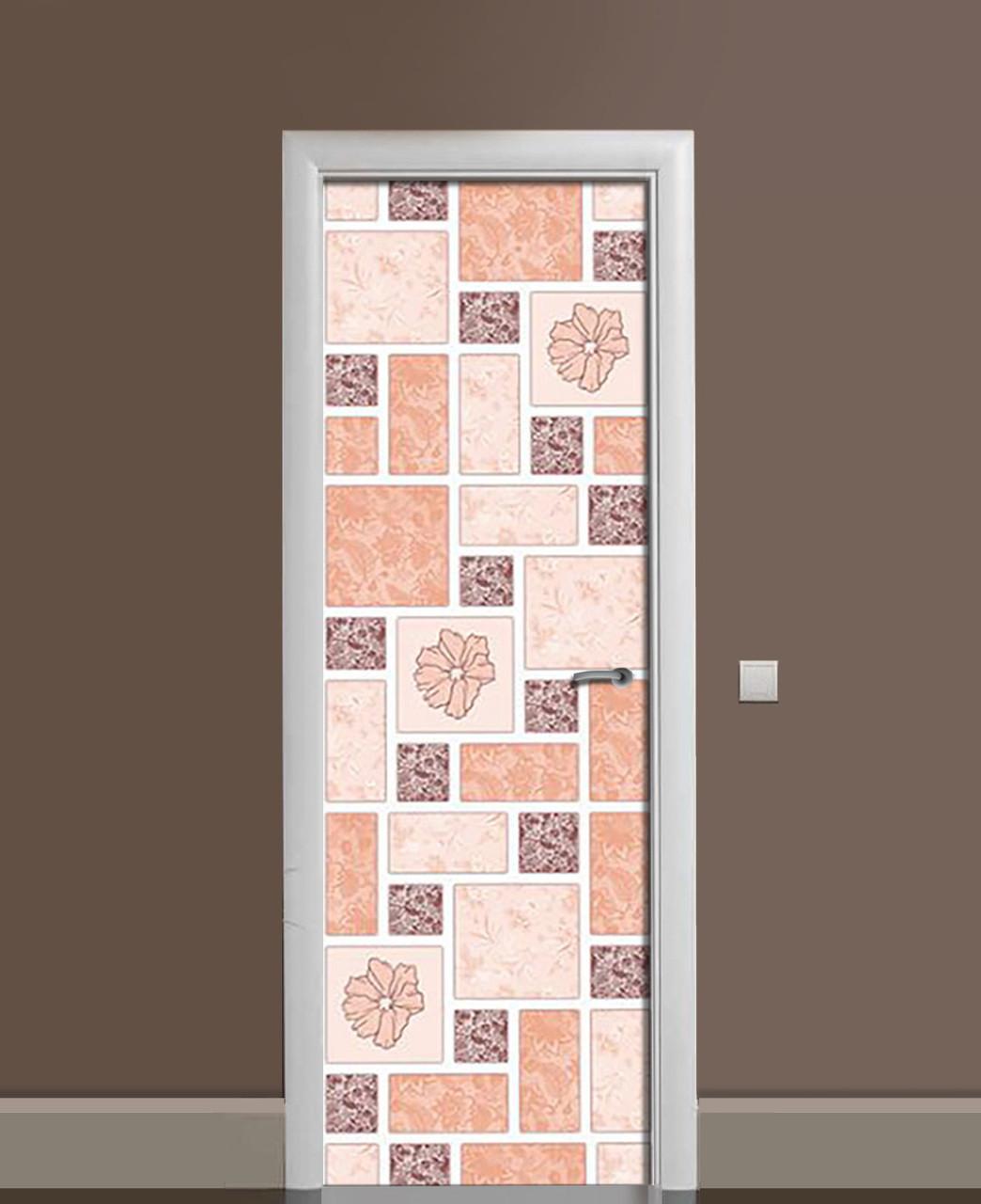 Декоративная наклейка на двери Пэчворк Маки Квадраты ПВХ пленка с ламинацией 65*200см Текстуры Розовый