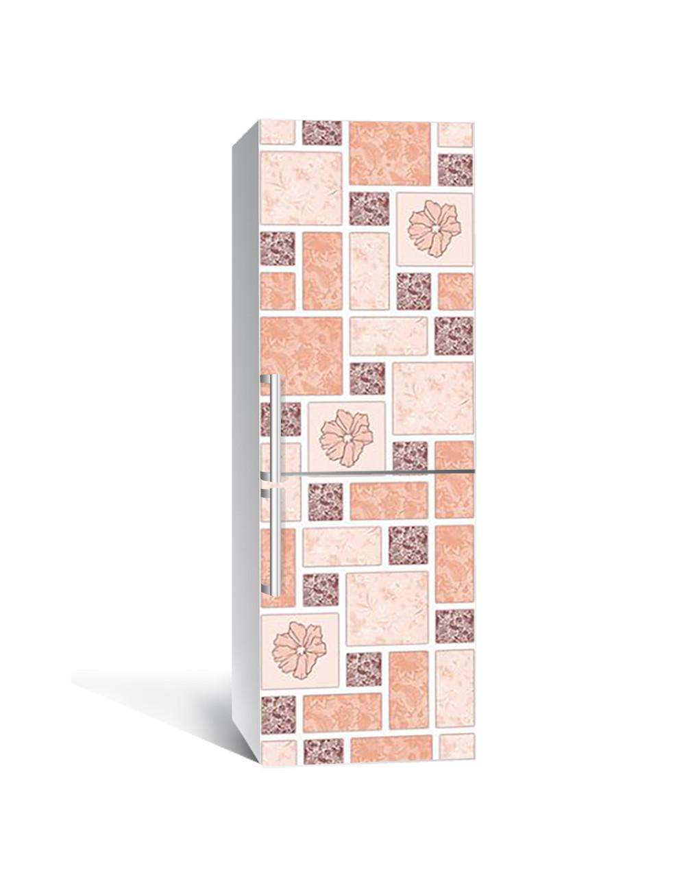 Декор 3Д наклейка на холодильник Печворк Маки Квадрати (плівка ПВХ фотодрук) 65*200см Текстура Рожевий