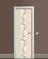 Вінілова наклейка на двері Візерунок з Роз квіти ПВХ плівка з ламінуванням 65*200см Абстракція Рожевий