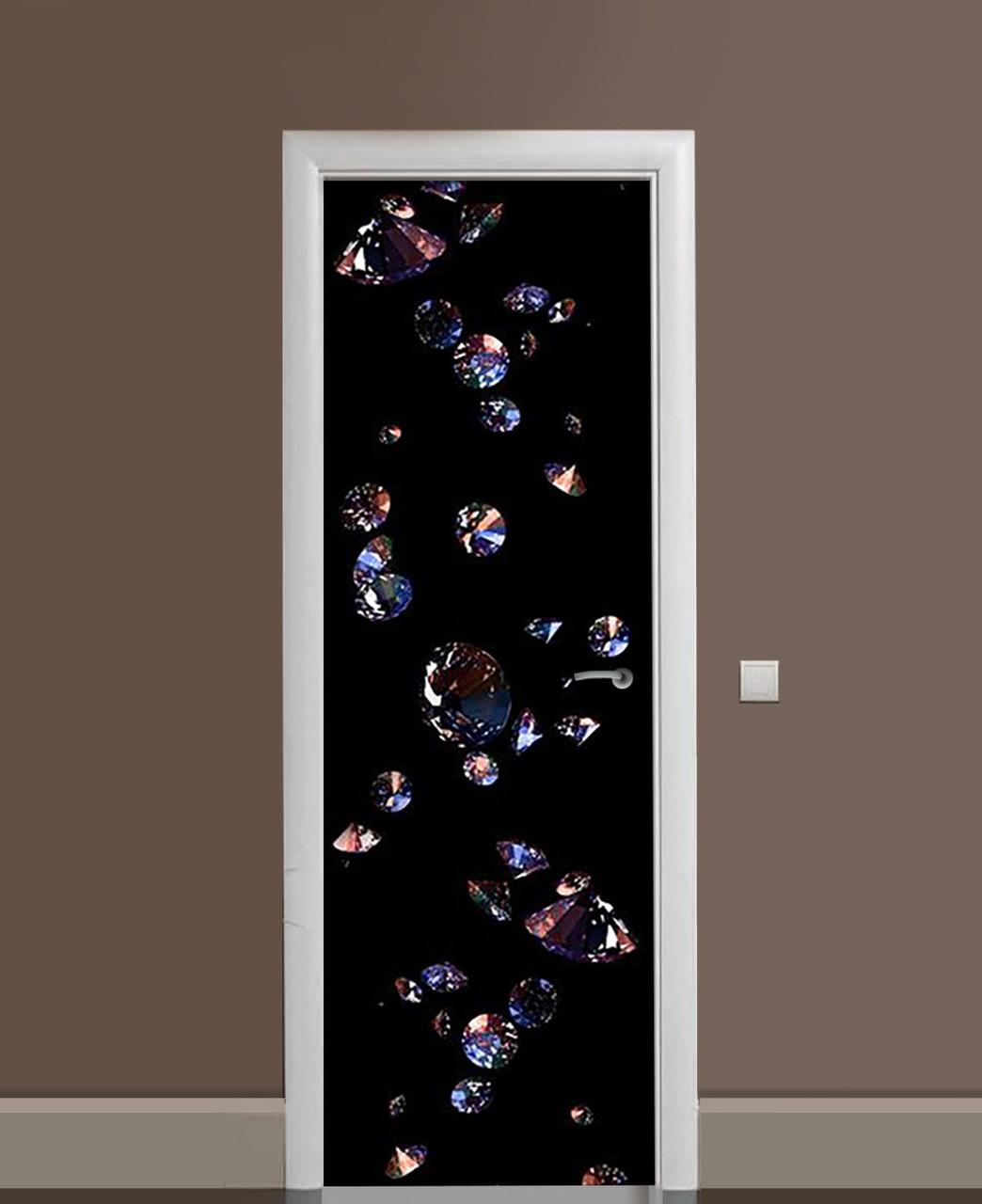 Декоративна наклейка на двері Прозорі Алмази Кристал ПВХ плівка з ламінуванням 65*200см Абстракція Чорний