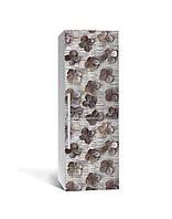 Вінілова 3Д наклейка на холодильник Незвичайні сухоцвіти (плівка ПВХ фотодрук) 65*200см Текстура Сірий