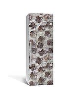 Виниловая 3Д наклейка на холодильник Необычные сухоцветы (пленка ПВХ фотопечать) 65*200см Текстуры Серый