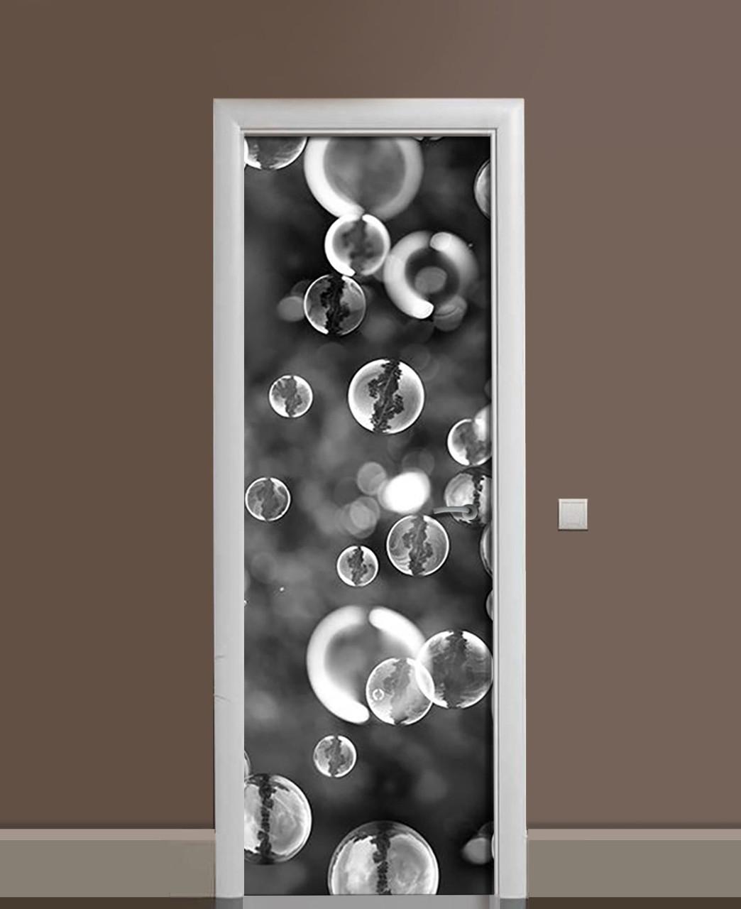 Декор двері Наклейка вінілова Мильні бульбашки Макро ПВХ плівка з ламінуванням 65*200см Текстура Сірий
