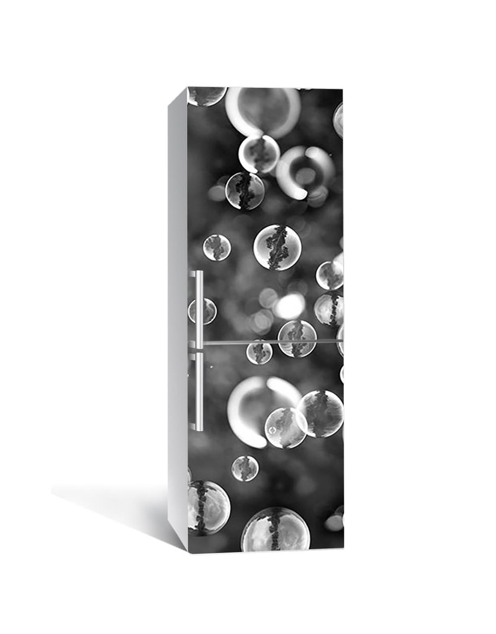 Наклейка на холодильник Мыльные пузыри Макро (пленка ПВХ с ламинацией) 65*200см Текстуры Серый