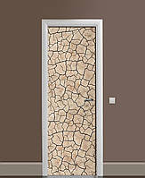 Декоративная наклейка на двери Сухая глина Трещины 3Д ПВХ пленка с ламинацией 65*200см Текстуры Бежевый