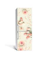 Вінілова наклейка на холодильник 3Д Гербери та Тюльпани (плівка ПВХ фотодрук) 65*200см Абстракція Рожевий