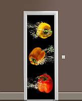 Декоративная наклейка на двери Яркие Перцы в воде ПВХ пленка с ламинацией 65*200см Еда Черный