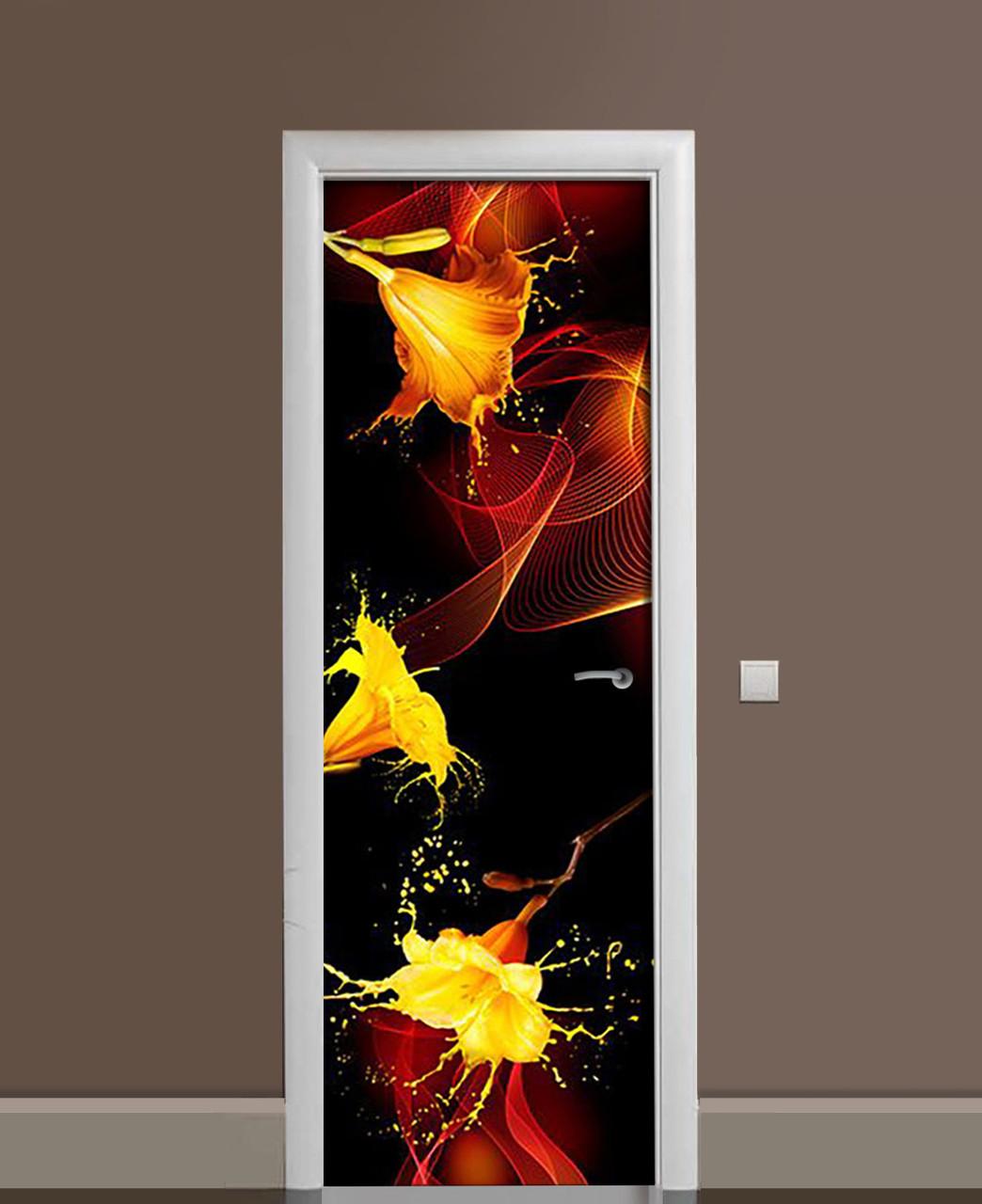 Декор двери Наклейка виниловая Желтые Лилии Брызги ПВХ пленка с ламинацией 65*200см Абстракция Коричневый