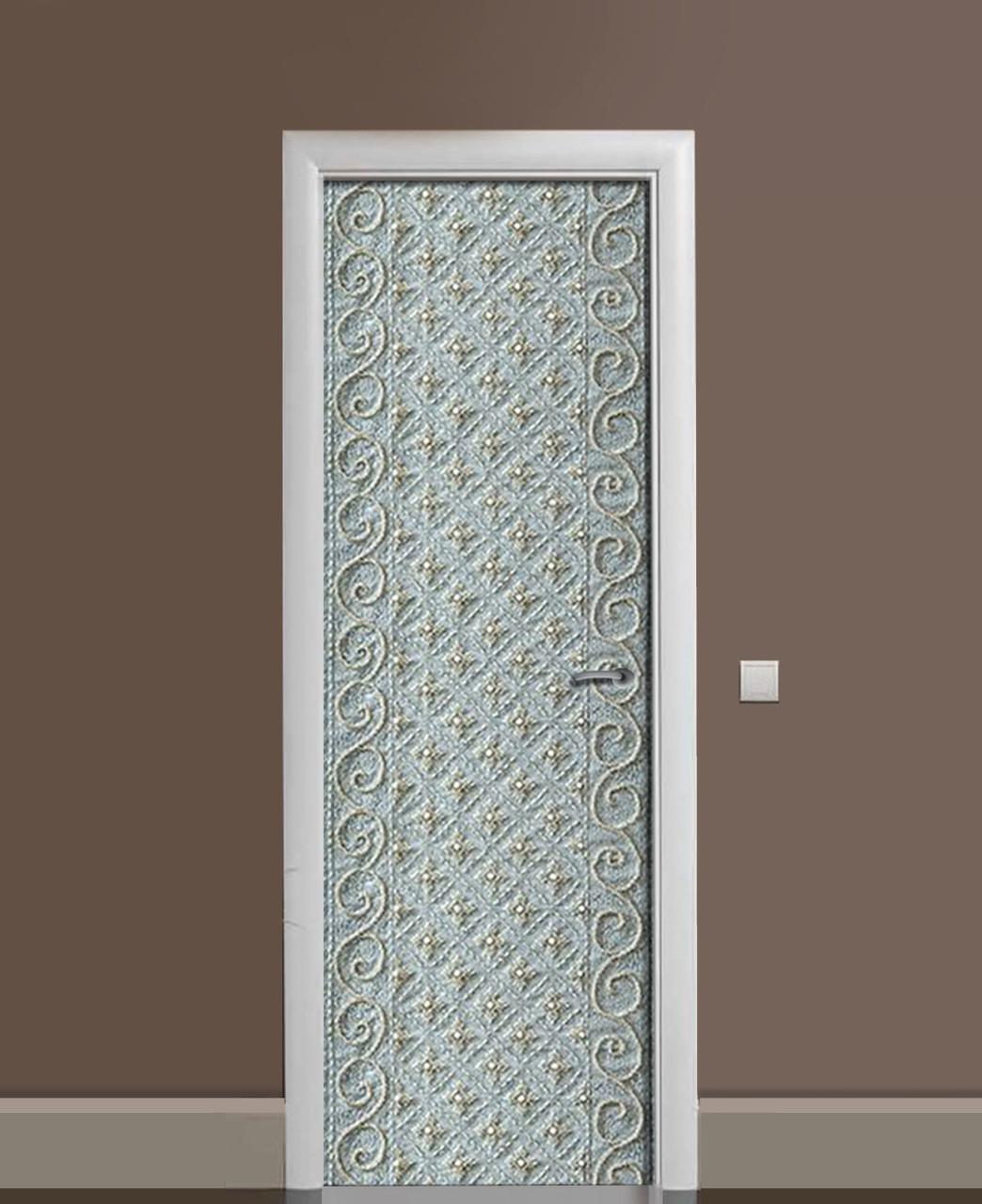 Декоративная наклейка на двери 3Д Лепнина Классика ПВХ пленка с ламинацией 65*200см Текстуры Серый
