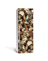 Виниловая 3Д наклейка на холодильник Кристалы золото (пленка ПВХ фотопечать) 65*200см Текстуры Коричневый