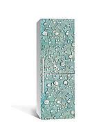 Вінілова наклейка на холодильник 3Д Французька ліплення (плівка ПВХ фотодрук) 65*200см Текстура Блакитний