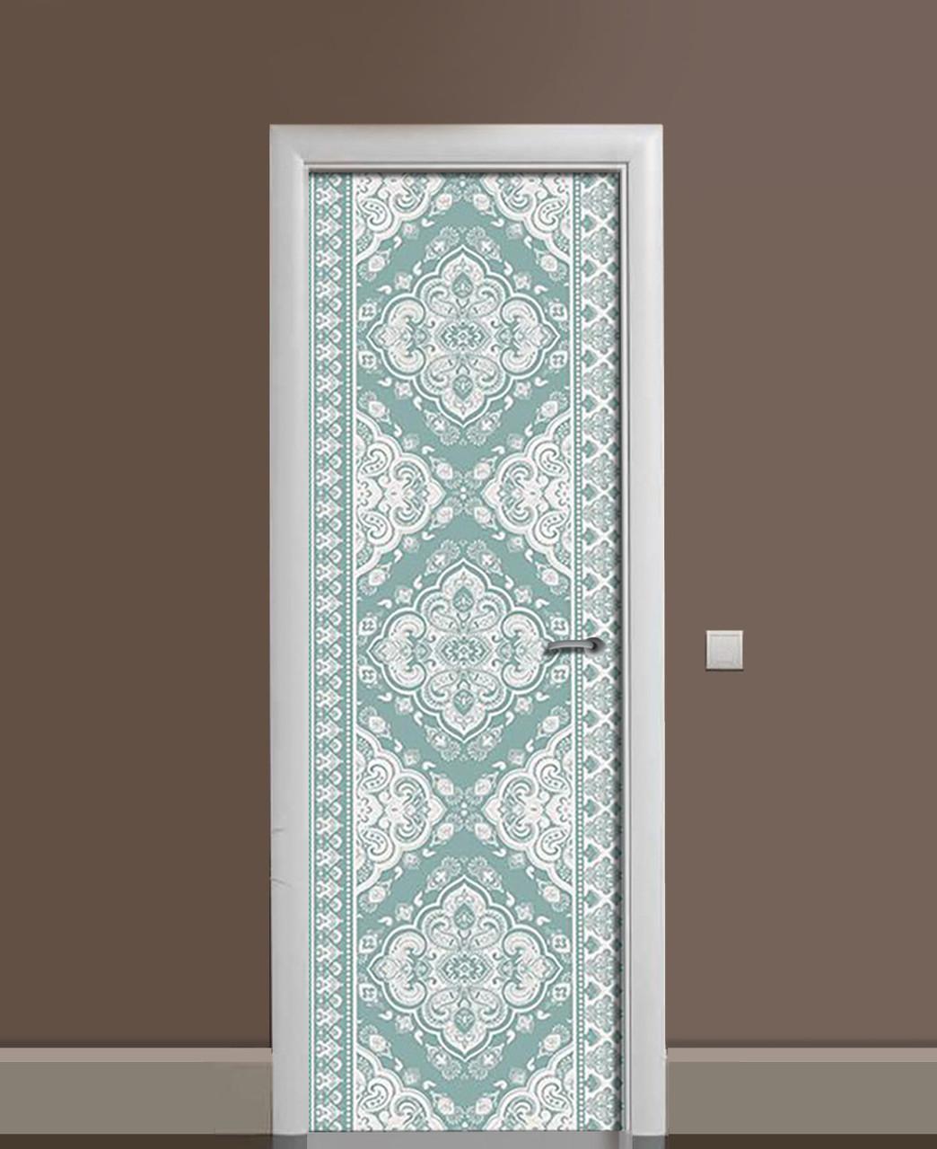Вінілові наклейки на двері Ажурні Візерунки Мереживо ПВХ плівка з ламінуванням 65*200см Абстракція Блакитний
