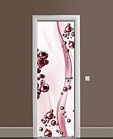 Вінілова наклейка на двері Гранатові краплі Сфери ПВХ плівка з ламінуванням 65*200см Абстракція Рожевий