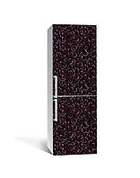 Вінілова 3Д наклейка на холодильник Ковані Візерунки Завитки (плівка ПВХ) 65*200см Текстура Коричневий