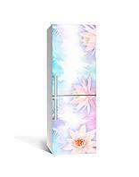 Декор 3Д наклейка на холодильник Легкість лотоса Пір'я (плівка ПВХ фотодрук) 65*200см Абстракція Блакитний