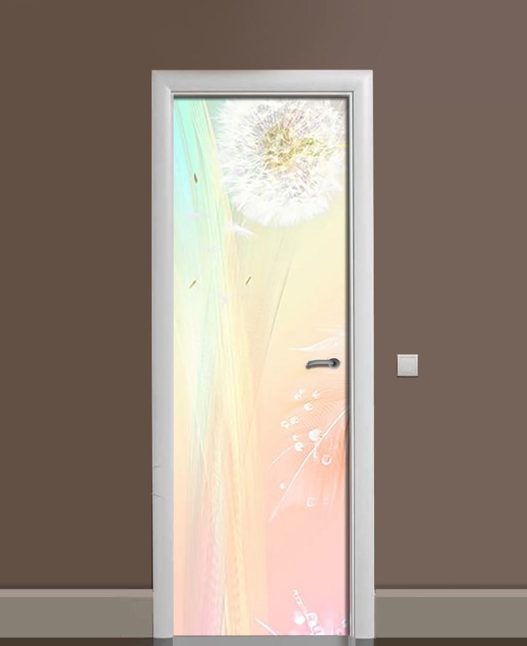 Виниловые наклейки на дверь Одуванчик на ветру ПВХ пленка с ламинацией 65*200см растения Розовый