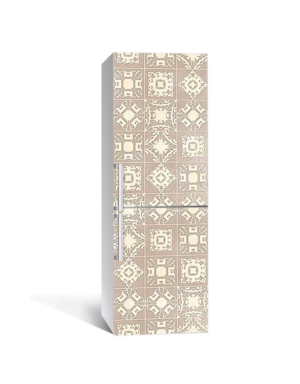 Виниловая наклейка на холодильник 3Д Пастельный азулежу Квадраты Плитка (пленка ПВХ) 65*200см Текстуры Бежевый