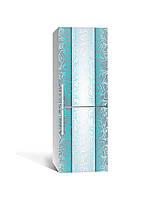 Декор 3Д наклейка на холодильник Морозний візерунок Бірюза (плівка ПВХ фотодрук) 65*200см Абстракція Блакитний