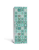 Наклейка на холодильник Португальська азулежу Бірюза Плитка (плівка ПВХ) 65*200см Текстура Зелений