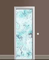 Декоративная наклейка на двери Бирюза Мрамор Камень ПВХ пленка с ламинацией 65*200см Текстуры Голубой