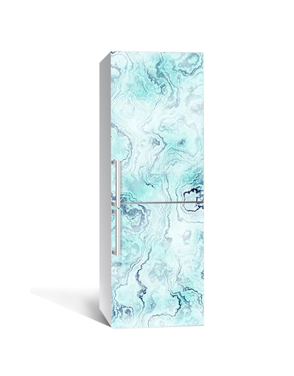 Декор 3Д наклейка на холодильник Бірюза Мармур Камінь (плівка ПВХ фотодрук) 65*200см Текстура Блакитний