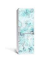 Декор 3Д наклейка на холодильник Бирюза Мрамор Камень (пленка ПВХ фотопечать) 65*200см Текстуры Голубой