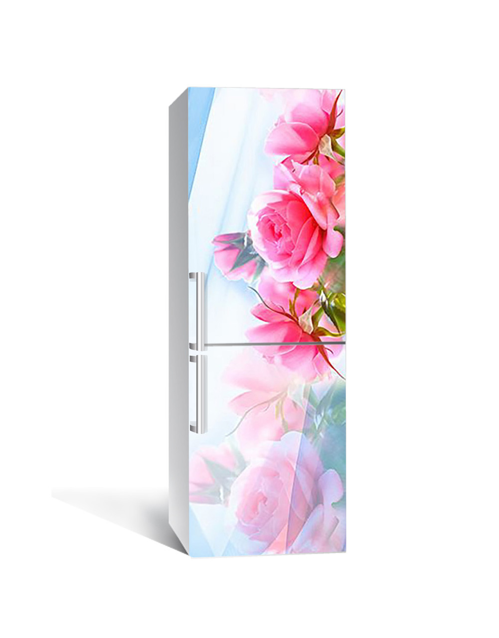 Виниловая 3Д наклейка на холодильник Розовые Розы Отражение (пленка ПВХ фотопечать) 65*200см цветы Голубой