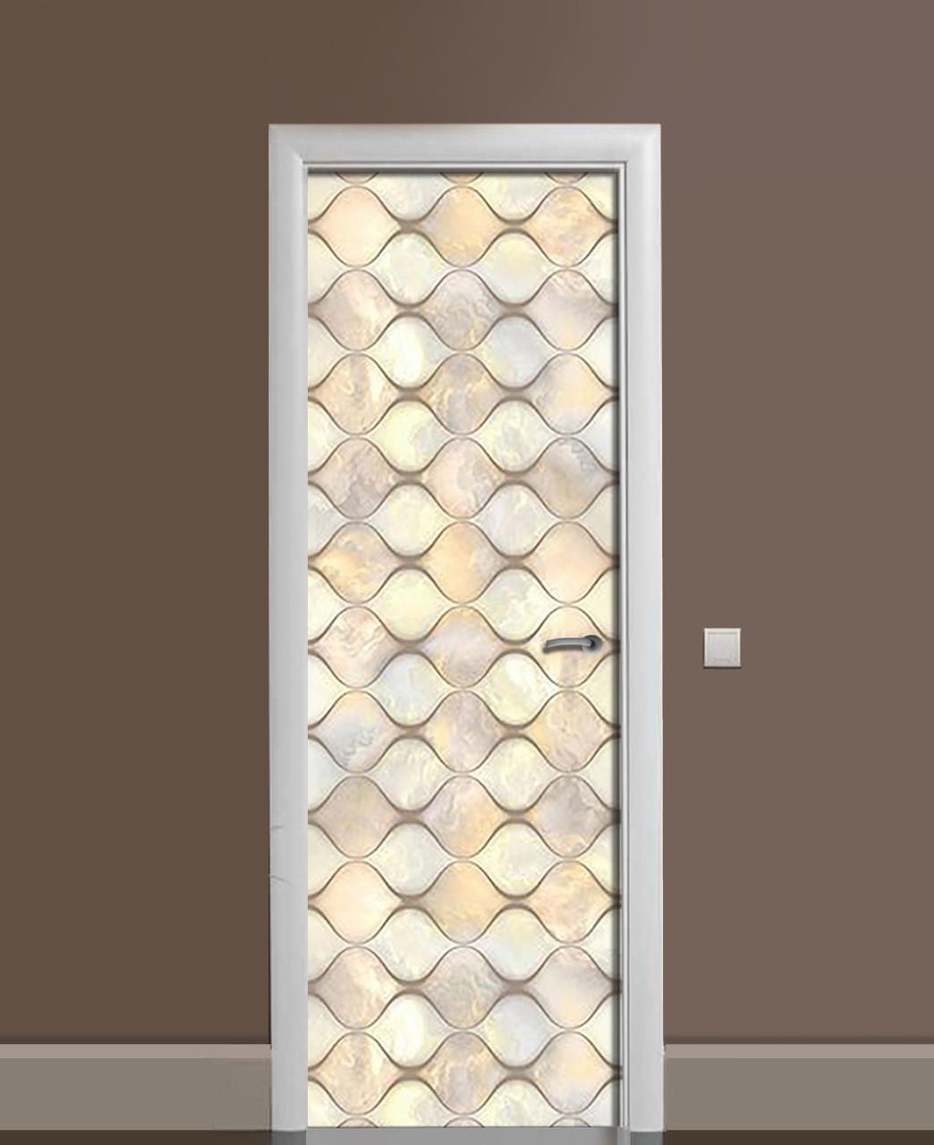 Декоративна наклейка на двері Перламутр Орнамент ромби ПВХ плівка з ламінуванням 65*200см Текстура Бежевий