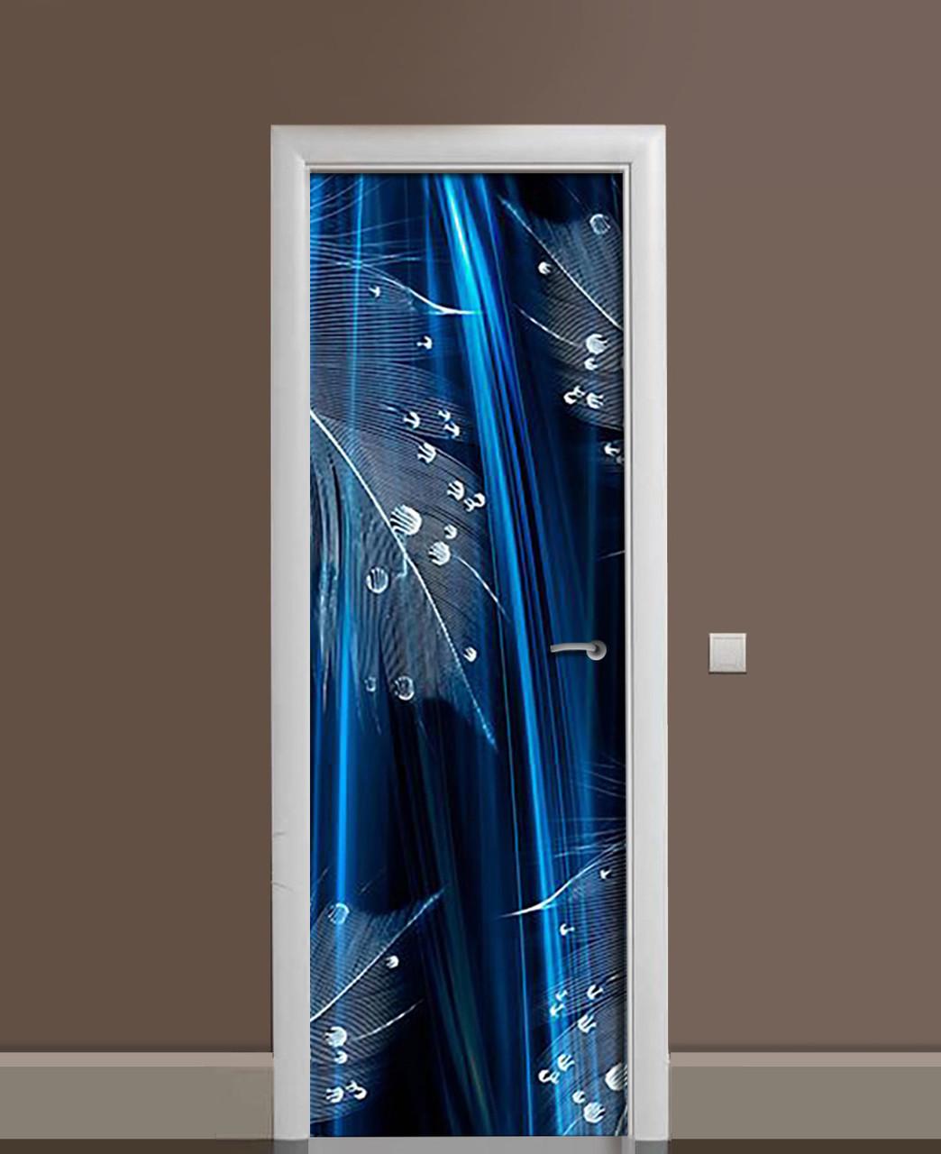 Вінілові наклейки на двері Роса на пір'ї птаха ПВХ плівка з ламінуванням 65*200см Текстура Синій