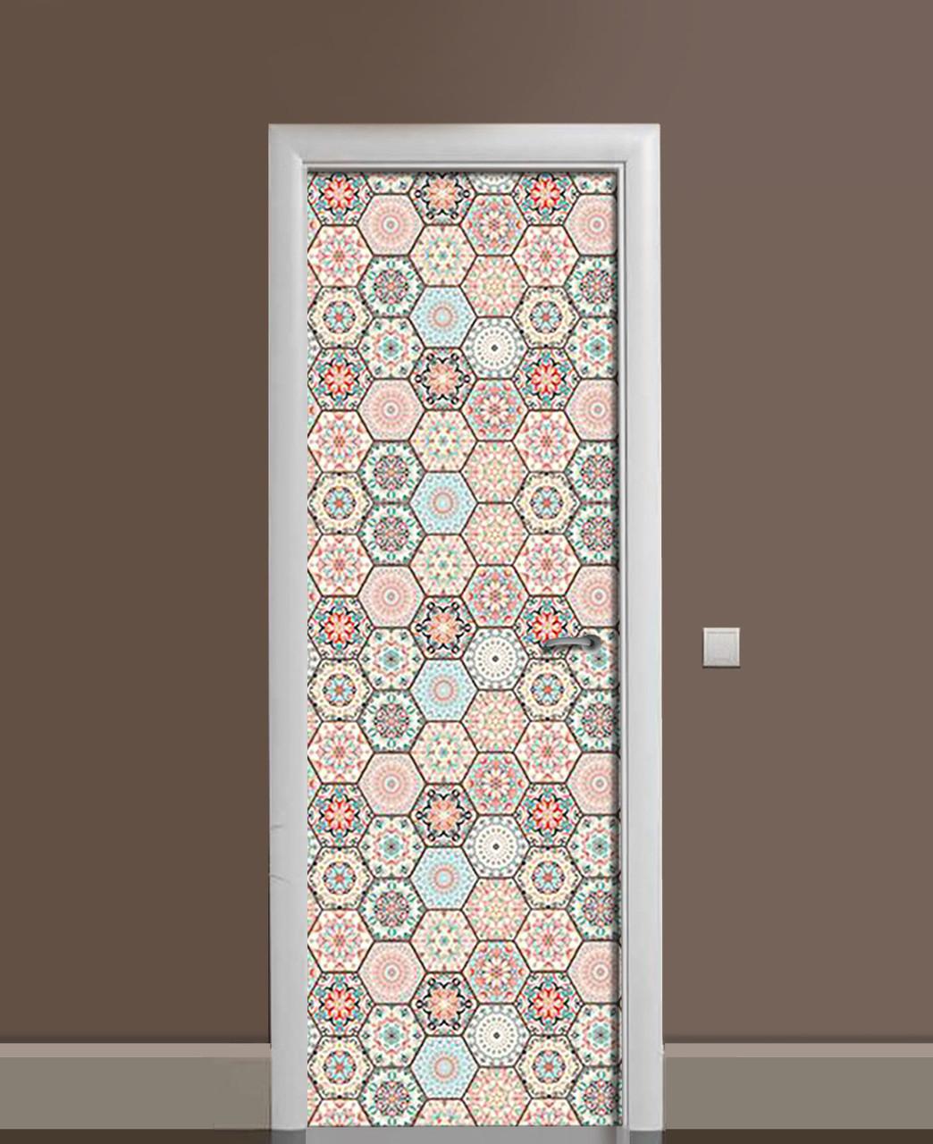 Декоративна наклейка на двері азулежу Стільники Печворк ПВХ плівка з ламінуванням 65*200см Геометрія Бежевий