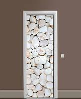Декор двери Наклейка виниловая Морские камни галька ПВХ пленка с ламинацией 65*200см Текстуры Бежевый