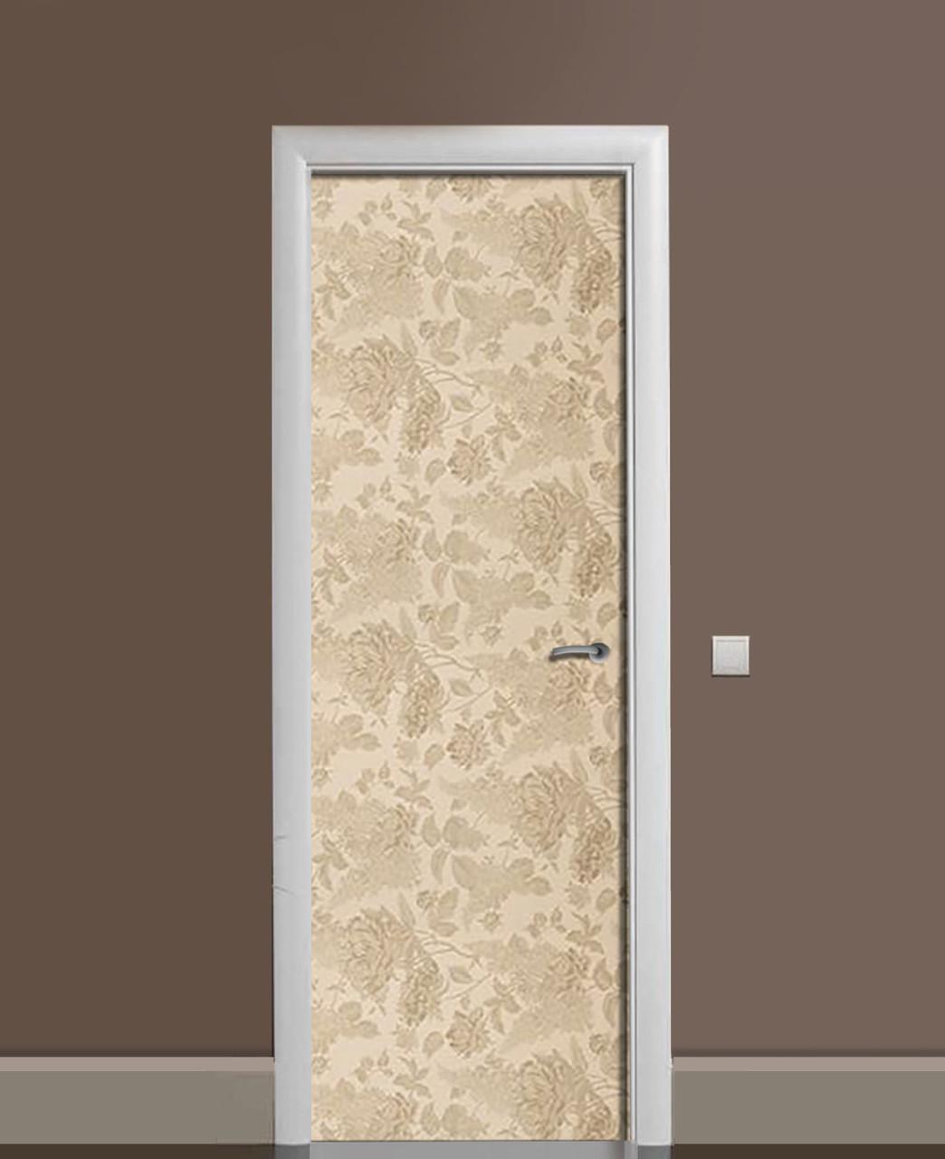 Декоративная наклейка на двери Песочная клумба Розы ПВХ пленка с ламинацией 65*200см Абстракция Бежевый