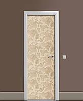 Декоративна наклейка на двері Пісочна клумба Троянди ПВХ плівка з ламінуванням 65*200см Абстракція Бежевий